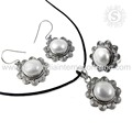 Queenly Design Pearl Gemstone Jewelry Set 925 Sterling Silver Jewelry Online Offer Indian Silver Jewelry
