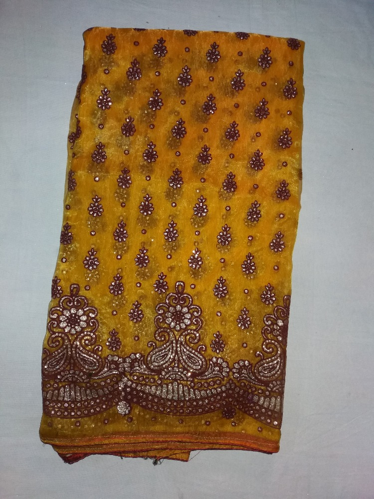 Indian Designer Gold Banarsi Printed Tissue Party Wear Yellow Colour Saree