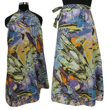 MultiColor Floral Print Long Wrap Around Cotton Dress Hippie Bohemian Clothing WP2734