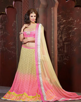 Indian Classic Cream, Pink color Net Lehenga Choli
