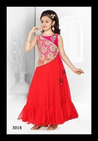 Party wear red frock/gown designs for girls