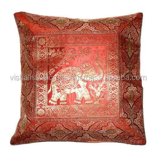 Buy Indian Ethnic Indian Antique Silk Sari Brocade Cushion