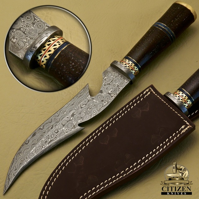 CITIZEN KNIVES, BEAUTIFUL CUSTOM HAND MADE DAMASCUS STEEL HUNTING BOWIE KNIFE