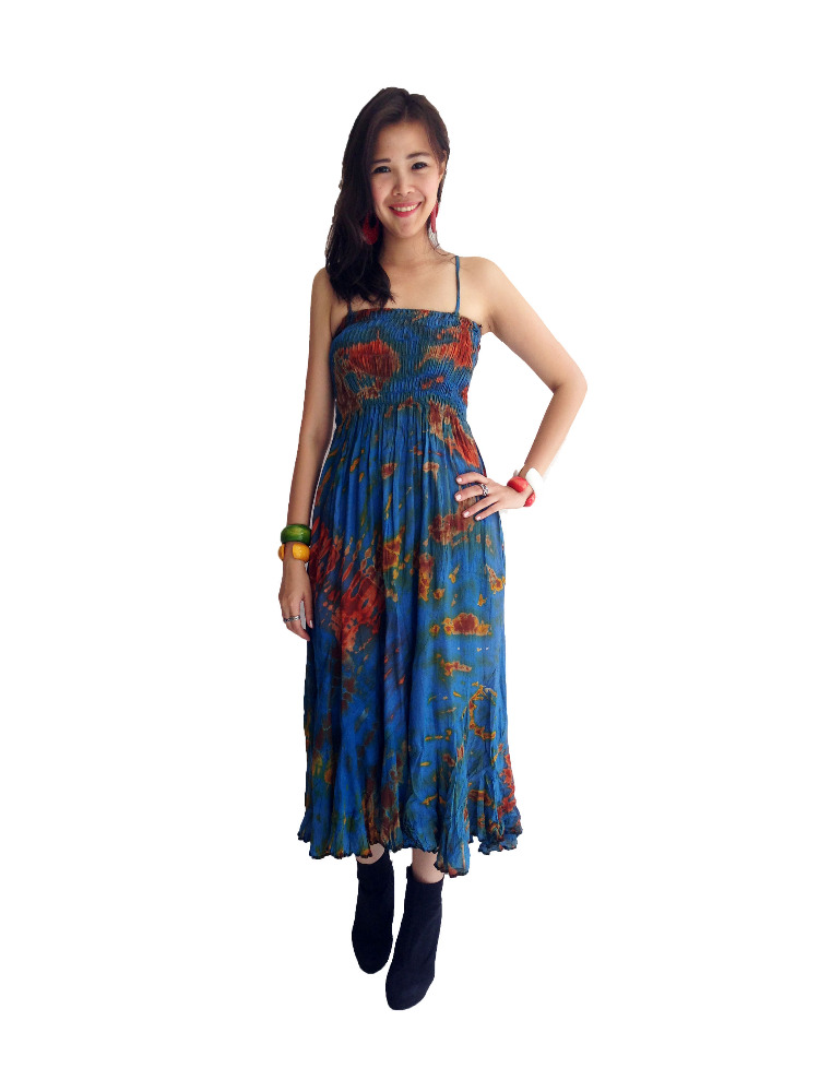 Wholesale India Made Rayon Silk Tie Dye Dresses .