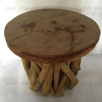 Teak Root Furniture Stool round stool w' roots stand 40x40cm