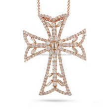 18 Carat Rose Gold Pave SI-VSI Quality Brilliant Cut Diamond Cross Pendant