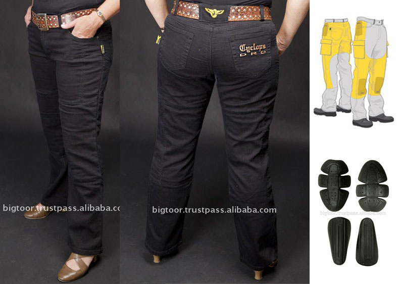 Ladies Motorbike Jeans with reinforced DuPont Kevlar Fiber on high impact areas
