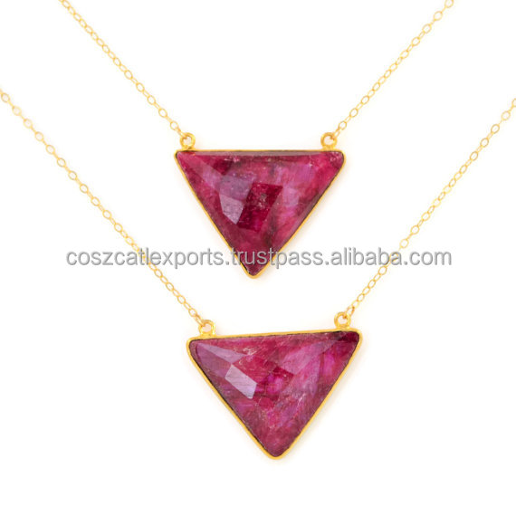 Ruby Gemstone Pendant July Birthstone Gold Triangle Necklace Geometric Necklaces