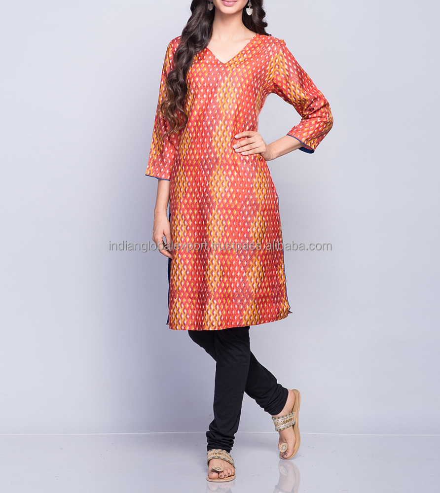 Silk Tussar Printed Solid Trim Mini Kurta For Girls