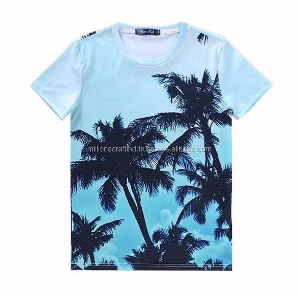 Cool Summer US size Gildan custom printing 100% pakistan Cotton T shirt men color light blue and tree print design shirts men