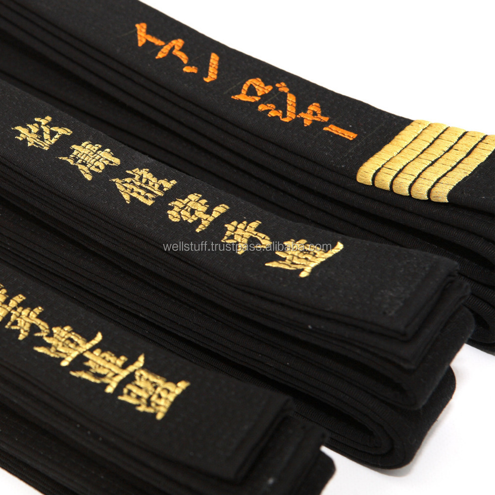 GOLDEN Embroidery Black Belt Taekwondo Karate Judo belts