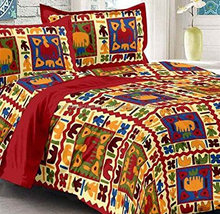 Indian Vintage 100 % Cotton Bedsheet Embroidered Associated Jaipuri Bedspread Bed Cover