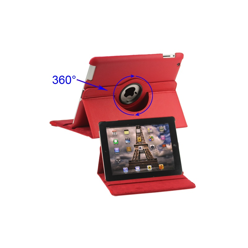 360 Degree Rotating for New iPad 2 3 4 Leather Case Cover with Stand - Red