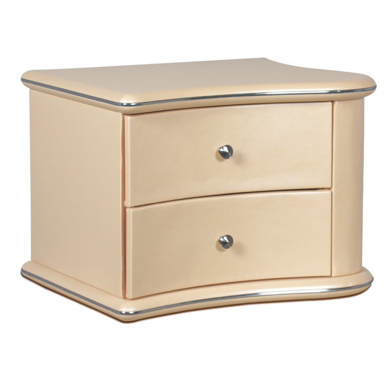 Bedside PU night stand with 2 drawers CARMEN A51 White pearl Graphite Red Pearl cream Beige pearl Metallic Brown colors