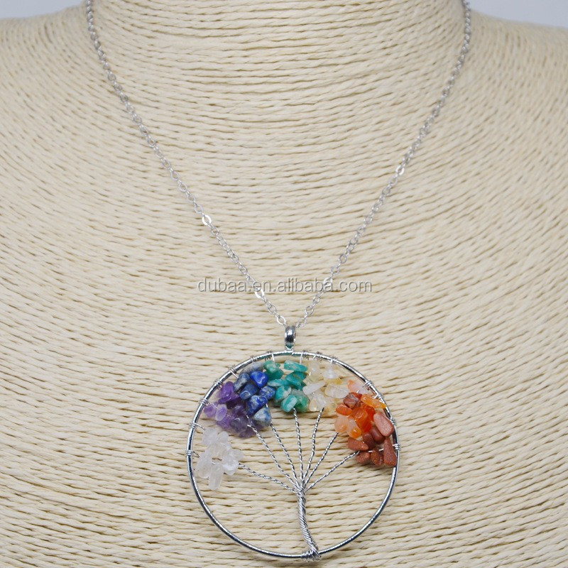 Natural Amethyst Reiki Chakra Tree of Life Crystal Wire Wrapped Pendant Necklace