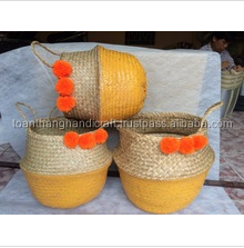 Hottest design foldable seagrass dipped belly basket from Toan thang factory