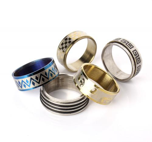 Stainless Steel Finger Ring mixed 4x18mm-11x24mm US Ring Size:5.5-10 100PCs/Box Sold By Box