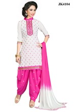 Fabulous White And Pink Colour Cambric Cotton Mirror Work Daily Wear / Casual Wear Punjabi Suit Patiala Suit