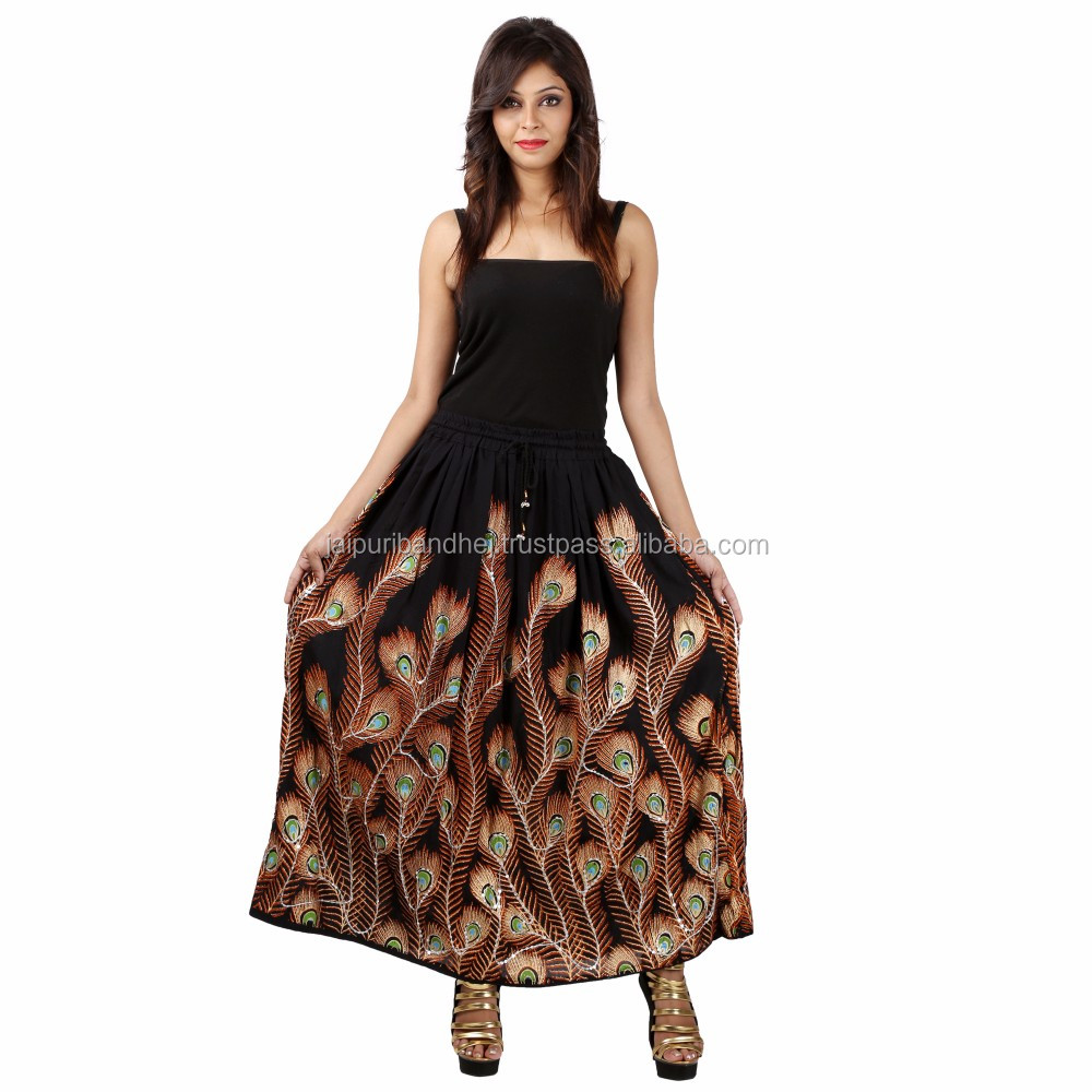 Peacock Feather Rayon Skirt