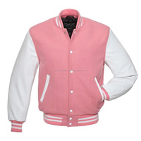 Ladies/ Women/ Girls Pink/ Baby Pink Wool Varsity Baseball College Letterman Jacket