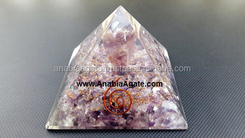 Amethyst Orgone Pyramid with Amethyst Angel