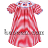 Red printed stripe hand smocked bishop dress for Independence Day with American flag patterns