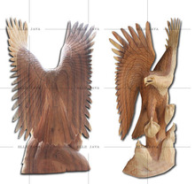 Wooden carft Eagle with 3 babies, hand carved home decoration