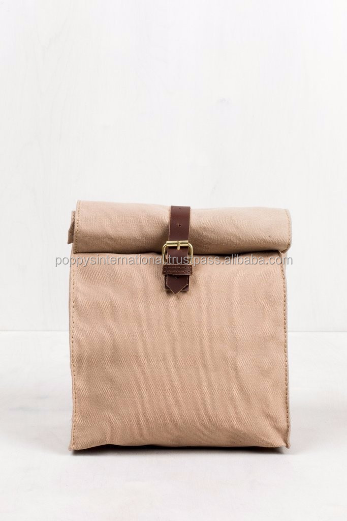 HEAVY CANVAS LUNCH BOX WITH BUCKLE CLOSURE