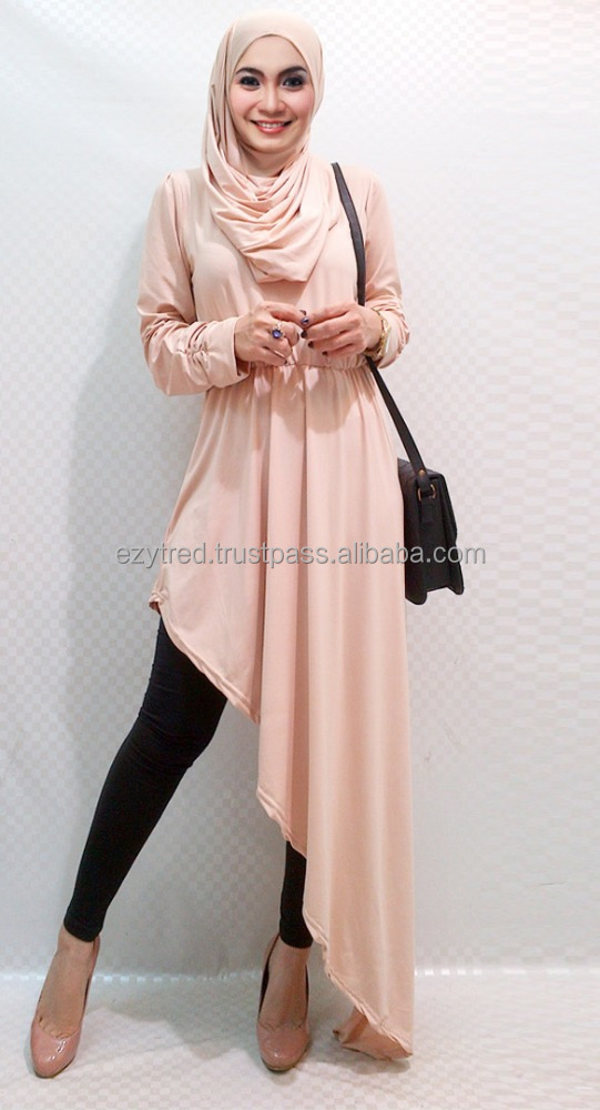 Round Neck Asymmetric Blouse with Shawl (Without Pants)