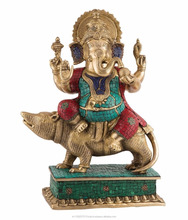 Ganesha Sitting on Mouse statue - Indian Deity Brass idol figurine - large Sculpture home decor gift