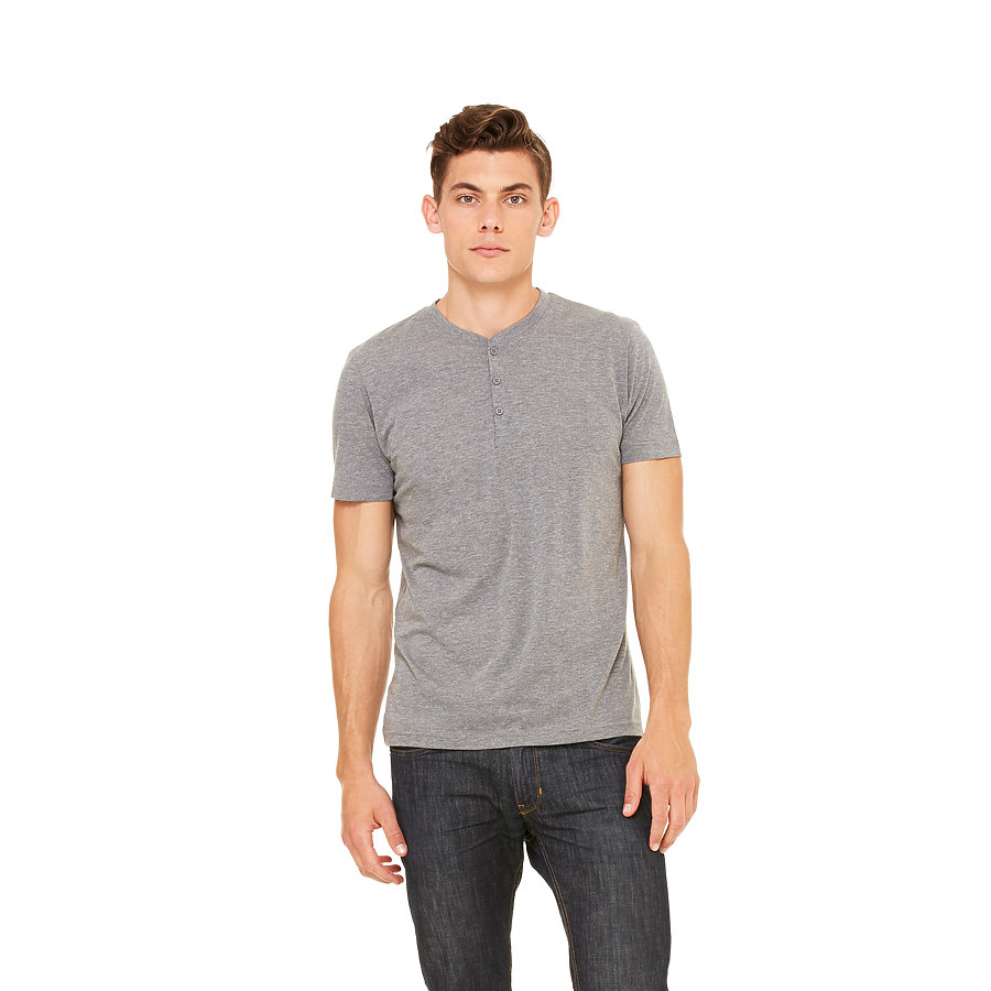 Bella+Canvas Men's Tri-blend Short Sleeve Henley Tee - 50% poly, 25% combed ring-spun cotton, 25% rayon and comes with your logo