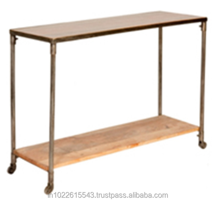 Industrial Furniture Metal Wood Console Table On Wheels   Buy Antique Console  Table,Italian Console Table,Toy Metal Wagon Wheels Product On Alibaba.com