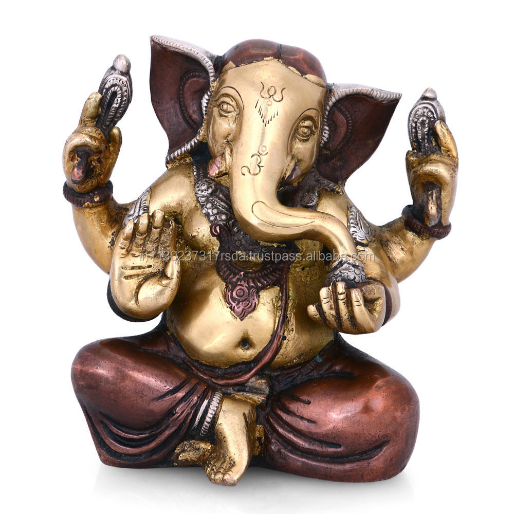 Jolly Ganesha Satue Brass Hindu Lord Elephant God Of Success Decorative Ganesh Sculpture
