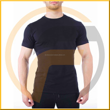 Custom dry fit workout performance t shirt seamless stretch fit round neck muscle gym t shirt