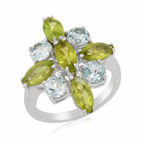 4.42 Cts Peridot & Sky Blue Topaz 925 Strling Silver Flower Ring For Women