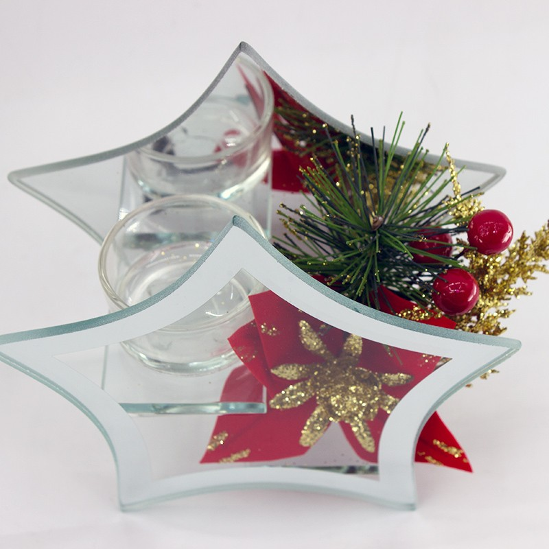 Famous Brand Christmas Decorate Star Design Glass Candle Holder