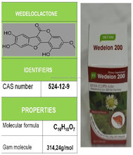 Healthy food names from natural herbal power extracted to treat a poisonous liver named Wedelolacton