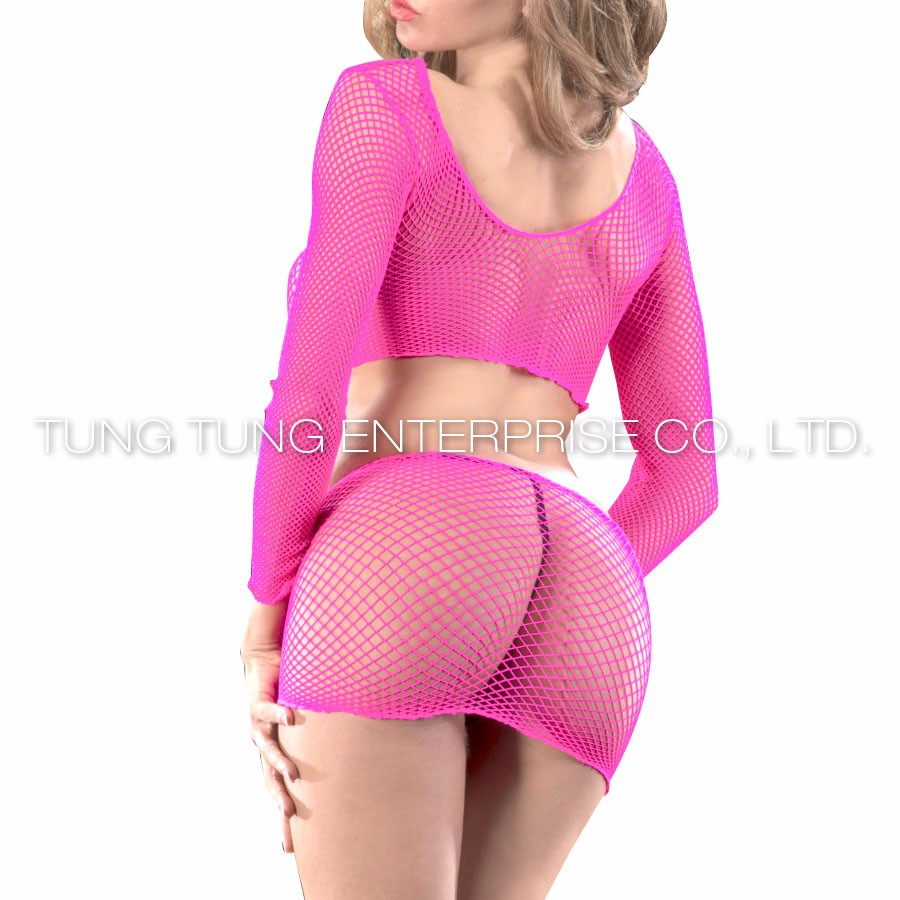2PC sexy hot long sleeves fishnet lingerie mini dress