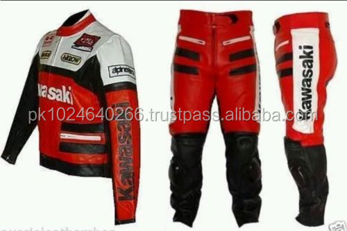 KAWASAKI RED MOTORBIKE/MOTORCYCLE LEATHER SUIT -CE APPROVED FULL PROTECTION