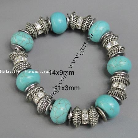 Zinc Alloy turquoise native howlite Bracelets rhinestone zinc alloy spacer & turquoise native howlite beaded 368948