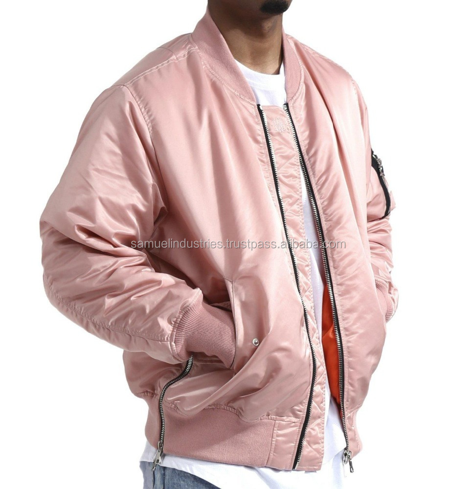 100% Polyester Streetwear Style Pink Men\Women Bomber Jackets\pink nylon-ma1-side-zip-bomber-jacket for men