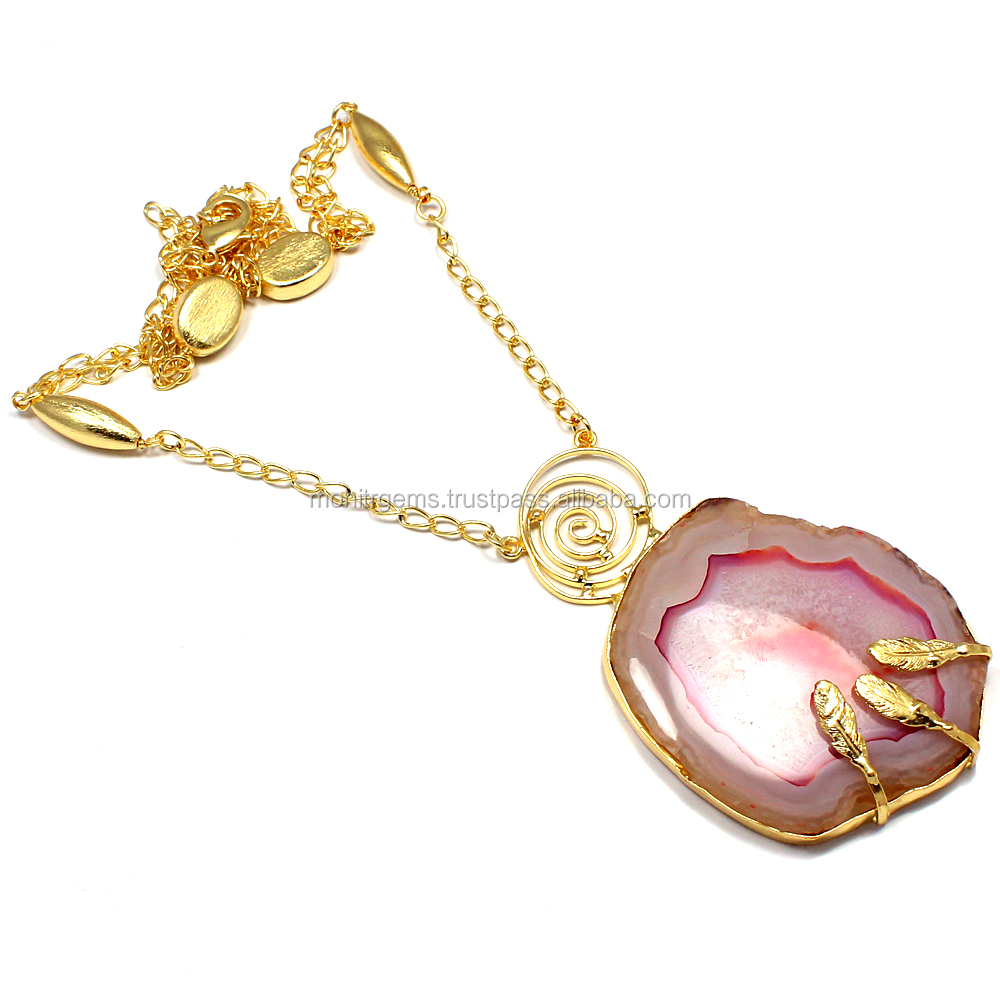 22 Carat Gold Polish Pink Color Slice Agate Druzy Fashion Statement Necklace