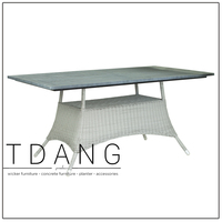 Polyethylene Rattan Dining Table With Wooden Top - Pasadena Grey Table
