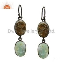 Natural Cut Aquamarine Gemstone Dangle Bezel Earrings Jewelry Manufacturers,Indian Handmade Solid Sterling Silver Jewellery