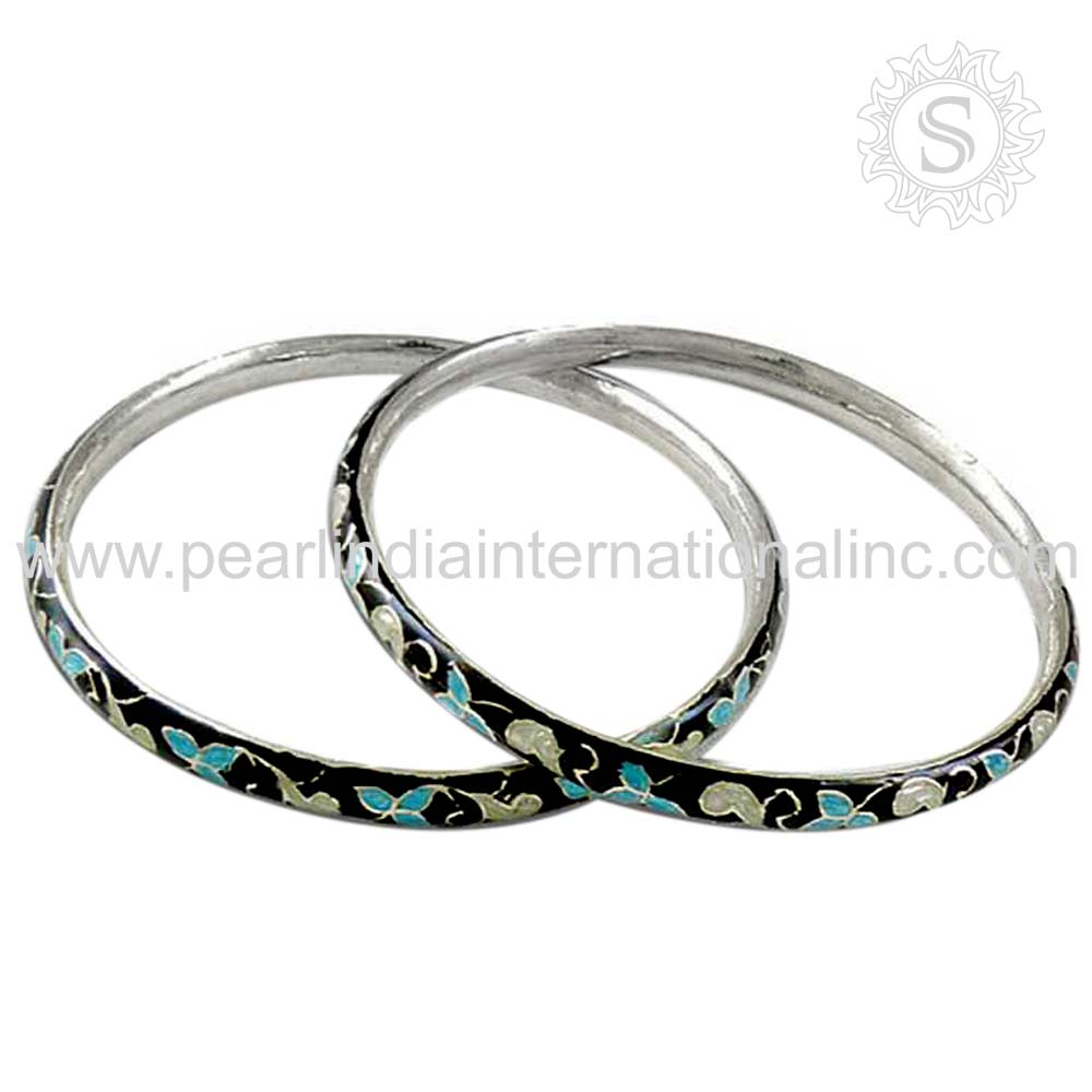 Beautiful Meenakari Gemstone Girls Bangle Handmade 925 Silver Jewelry Supplier Wholesaler Silver Jewelry Supplier