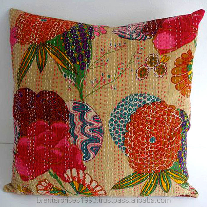 wholesale indian handmade 100% cotton printed hand block vintage cushion cover