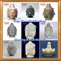 Hand Carved stone buddha head - indian buddhism soapstone carving sculptures