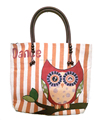 Cotton canvas fabric owl design shopping tote bags