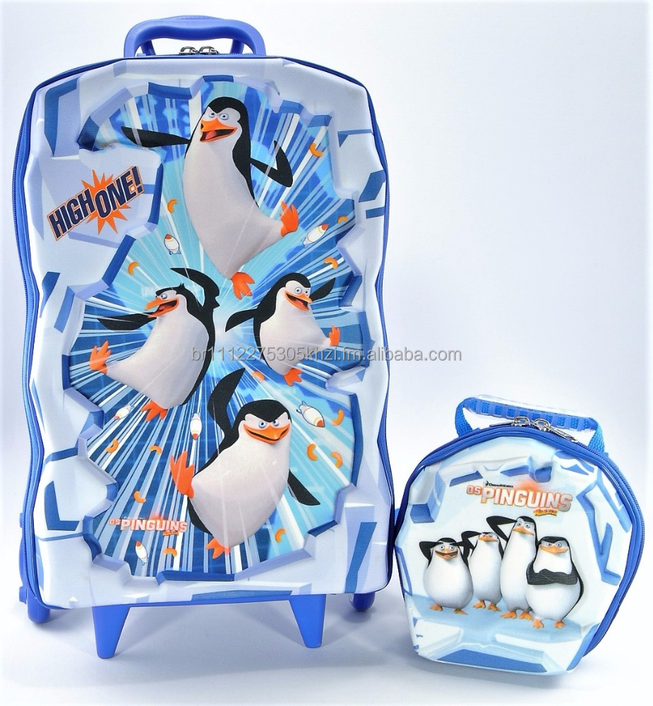 School Backpack With Wheels + Lunch Bag - EVA Thermomolded - 3D - Penguins Ice