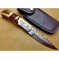 A HANDMADE QUALITY WITH STAG AND ROSE WOOD COMBINATION ON HANDLE, HANDMADE DAMASCUS STEEL LINER LOCK HUNTING FOLDING KNIFE
